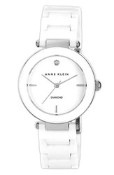 Women's Anne Klein Round Ceramic Bracelet Watch 33Mm White