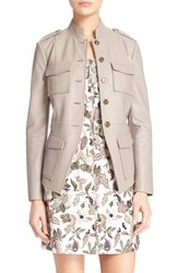 Women's Tory Burch Leather Military Jacket Sparrow Grey