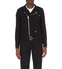 Comme Des Garcons Cut Out Moto Cotton Biker Jacket Black