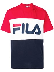 Fila Logo Print Colour Block T Shirt Red