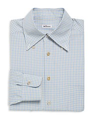 Kiton Checkered Cotton Dress Shirt Blue