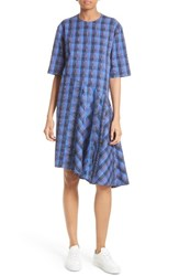 Public School Women's Rima Asymmetrical Plaid Cotton Dress Blue Peacoat Red