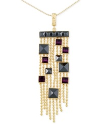 Sis By Simone I Smith Purple Crystal And Hematite Chandelier Pendant Necklace In 14K Gold Over Sterling Silver