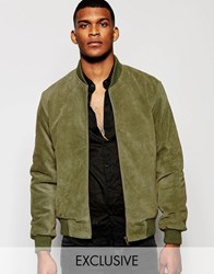 Reclaimed Vintage Suede Bomber Jacket Green