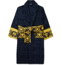 Versace Logo Jacquard Panelled Cotton Terry Robe Navy