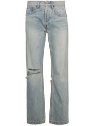 Re Done Oversized Straight Cut Jeans Cotton Blue