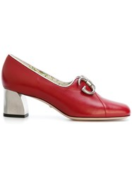 Gucci Ayers Mid Heel Pumps Women Leather 35 Red