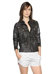 Drome Cropped Studs And Eyelets Leather Shirt