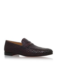 Magnanni Woven Croc Trim Loafers Male Brown