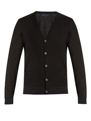 Lanvin V Neck Wool And Cotton Blend Cardigan Black