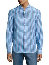 Black Brown Linen Gingham Sportshirt Cloud Blue