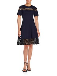 Rebecca Taylor Lace Ponte A Line Dress Navy