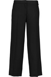 Tory Burch Marlie Cropped Stretch Wool Wide Leg Pants Black