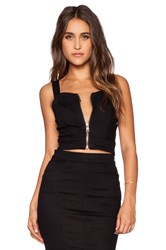 7 For All Mankind Zip Bodice Crop Top Black