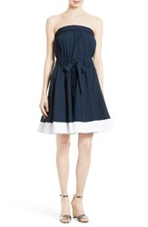 Milly Women's Ariel Poplin Strapless Fit And Flare Dress
