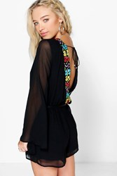 Boohoo Embroidered Back Chiffon Playsuit Black