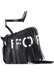 Off White Fringed 110Mm Sandals Black