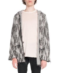 Saint Laurent Baja Graphic Print Cardigan Gray