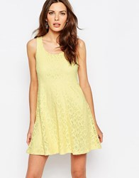 Vila Open Back Lace Skater Dress Pale Banana Yellow