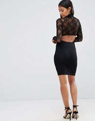 Asos Lace Long Sleeve Cut Out Back Mini Dress Black