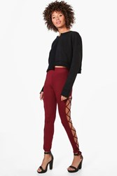 Boohoo Lace Up Side Jersey Leggings Burgundy