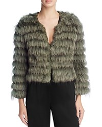 Alice Olivia Fawn Channeled Fur Jacket Army