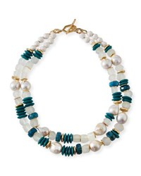 Akola Turquoise And Pearly Bead Necklace 40