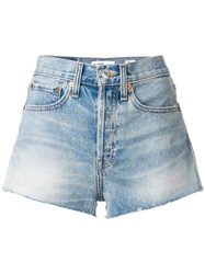 Re Done The Short Raw Hem Shorts Cotton Blue