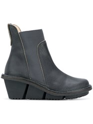 Trippen Ankle Wedge Boots Blue