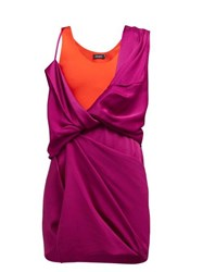 Atlein Draped Hybrid Satin Jersey Mini Dress Fuchsia