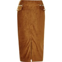 River Island Womens Rust Brown Faux Suede Pencil Skirt