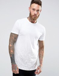 Only And Sons Super Longline T Shirt With Curved Hem Faded Print Detail White