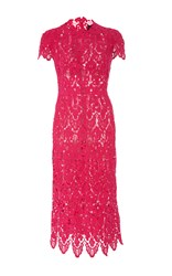Costarellos Loom Guipure Lace Wiggle Dress Red