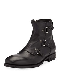 John Varvatos Fleetwood Pin Strap Leather Boots Black