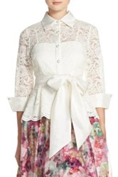 Eliza J Belted Lace Blouse White