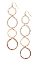 Panacea Crystal Linear Circle Earrings Gold