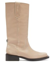 Ganni Mc Distressed Leather Western Boots Cream