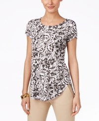 Alfani Printed Short Sleeve Top Only At Macy's Scroll Olive