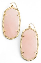 Women's Kendra Scott 'Danielle Large' Oval Statement Earrings Gold Rose Quartz