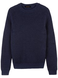 Jaeger Chainmail Tuck Stitch Cotton Jumper Navy