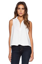Michael Stars Sleeveless Button Up Crop Shirt White