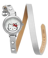 Hello Kitty Watch Women's White Leather Double Wrap Strap 28Mm H3wl1002wt