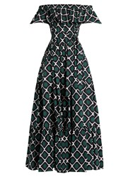 La Doublej Editions One Love Off The Shoulder Cotton Dress Black Green