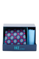 Ike Behar Jameson Medallion Silk Tie And Handkerchief Pink