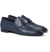 Berluti Lorenzo Full Grain Burnished Leather Loafers Navy