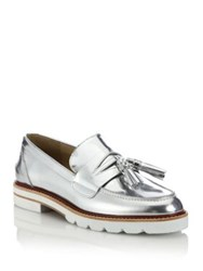 Stuart Weitzman Manila Patent Leather Metallic Platform Oxfords Silver
