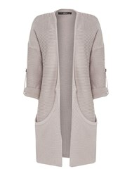 Replay Long Garment Dyed Cotton Cardigan Grey