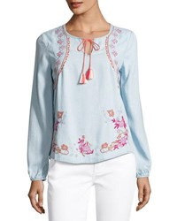 Neiman Marcus Embroidered Chambray Peasant Blouse Medium Blue