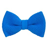 40 Colori Turquoise Solid Silk Knitted Bow Tie Blue