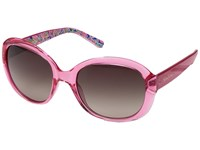 Lilly Pulitzer Magnolia Crystal Pink Banana Flambe Inside Temples Polarized Dark Brown Fashion Sunglasses